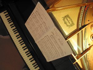 Grand piano with music